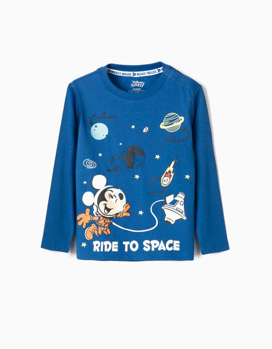 Long Sleeve Top for Baby Boys, 'Mickey Space', Blue