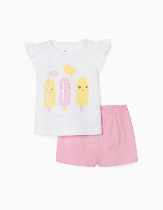 Pijama para Bebé Niña 'Ice Cream', Blanco/Rosa