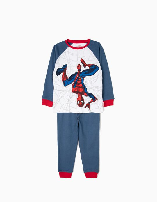 Pijama para Menino 'Spider-Man' Manga Comprida, Azul e Branco