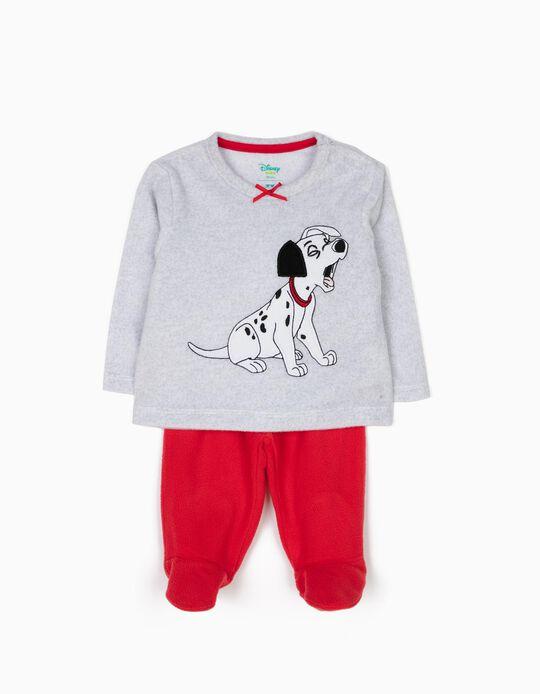 Pijama Polar con Pies 101 Dálmatas Gris y Rojo