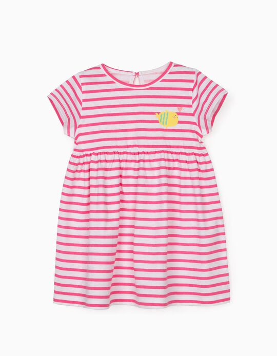 Jersey Knit Dress for Baby Girls, 'Cute Fish', Pink/White