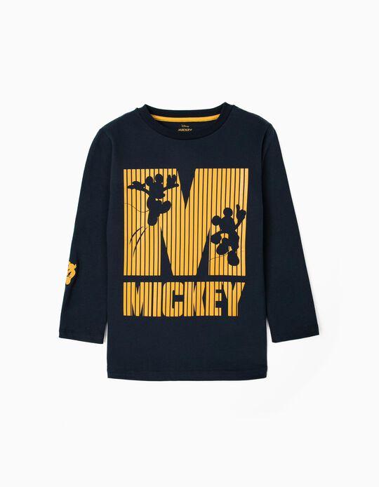 Long Sleeve Top for Boys, 'Mickey', Dark Blue