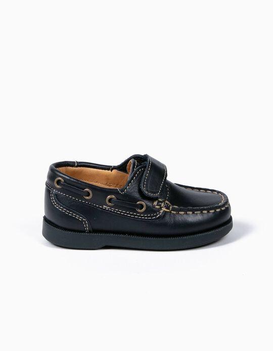 Sapatos Vela Bebé Menino Pele Azuis