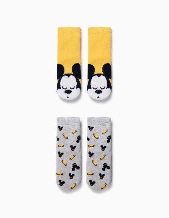 2 Calcetines Antideslizantes para Bebé Niño 'Mickey', Amarillo/Gris