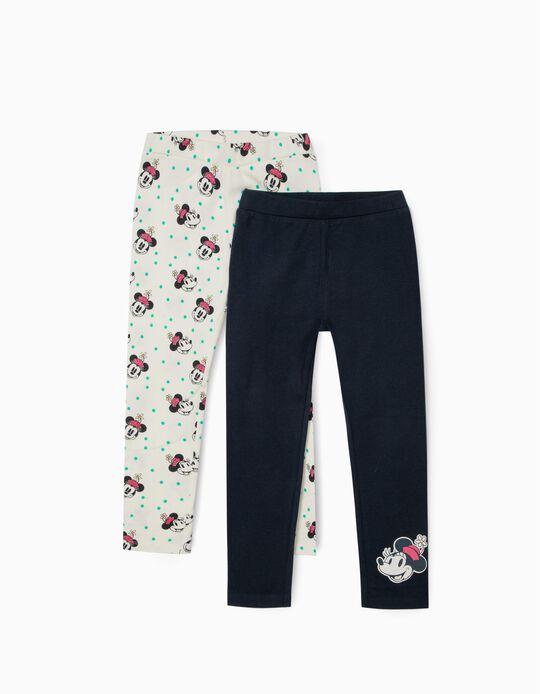 2 Leggings for Girls 'Smiley Minnie', White/Dark Blue