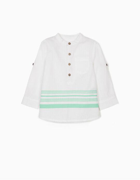 Camisa con Lino para Bebé Niño a 'Rayas', Blanca