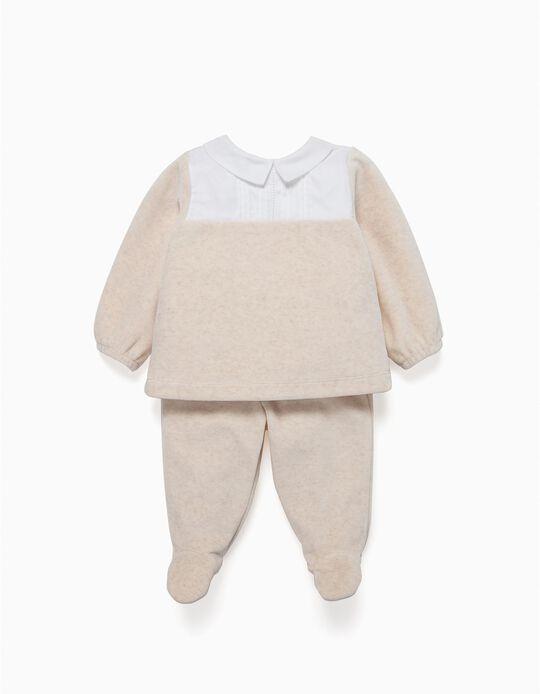 Pijama Veludo Combinado Bege
