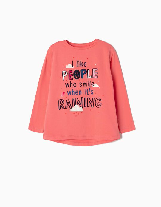 Long Sleeve Top for Girls 'Smile, Pink