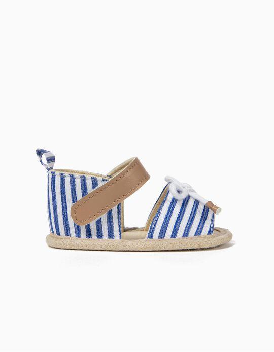 Sandalias para Recién Nacida a Rayas, Azul y Blancas