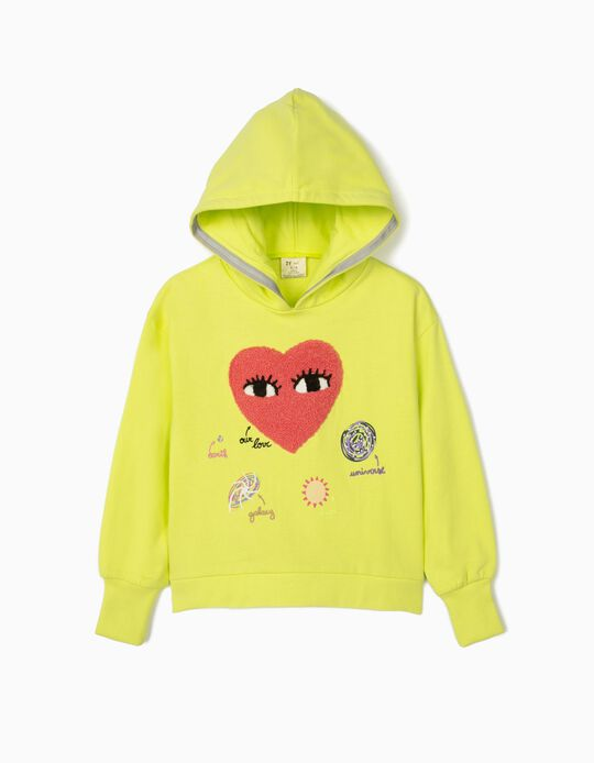 Hooded Sweatshirt for Girls, 'Our Love', Lime Yellow
