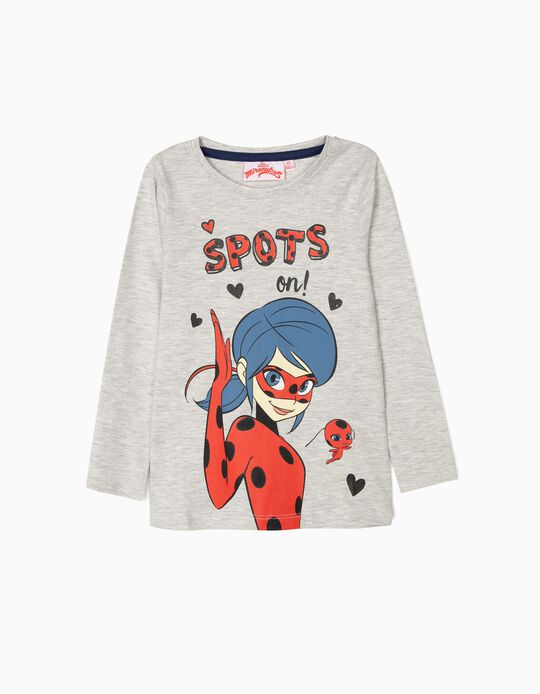 Long-sleeve Top for Girls 'Ladybug', Grey