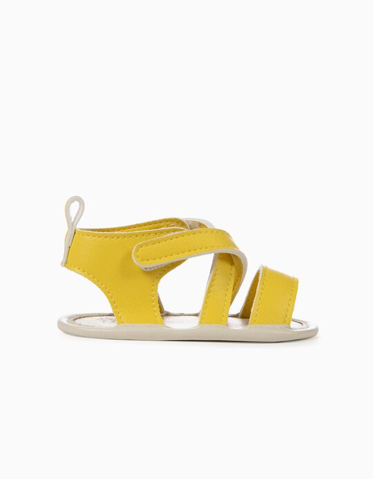Sandals with Crossed Straps for Newborn Girls, Yellow