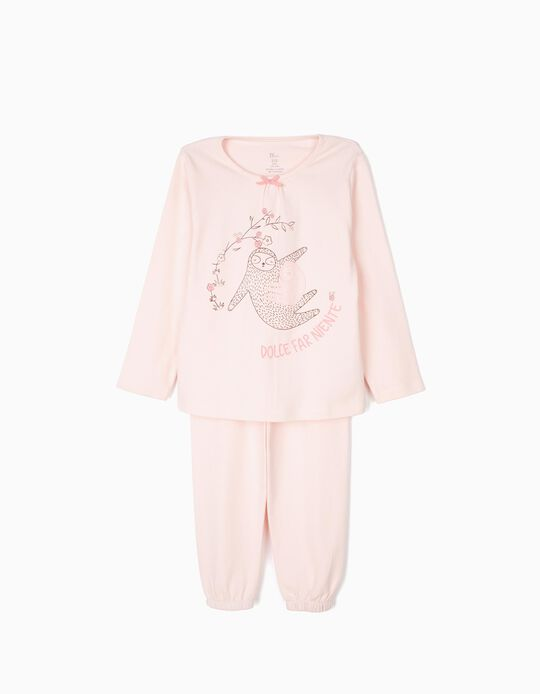 Pijama para Niña 'Dolce Fare Niente Sloths' Manga Larga, Rosa Claro