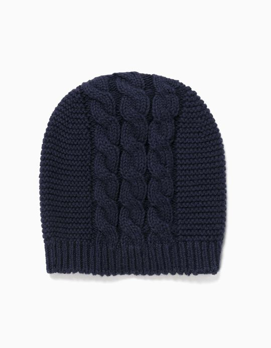 Knitted Beanie for Newborn Baby Boys, Dark Blue
