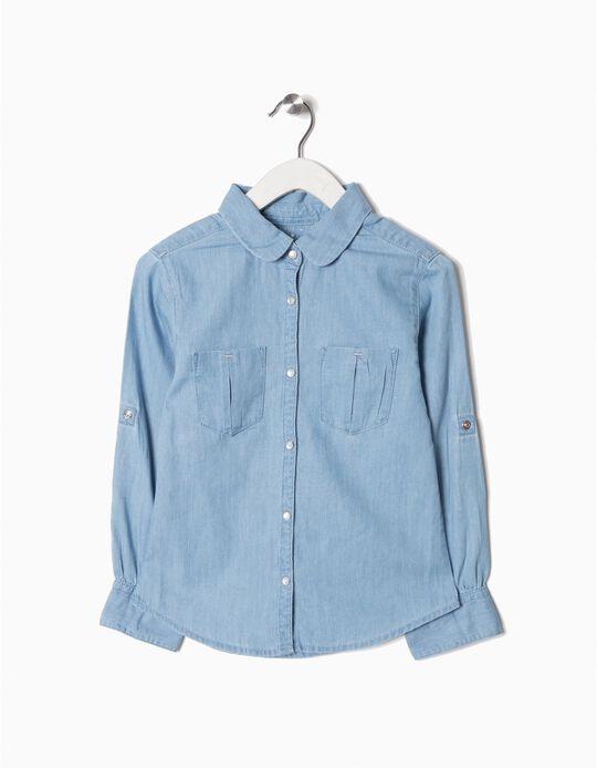 Camisa Vaquera para Niña, Azul Clara