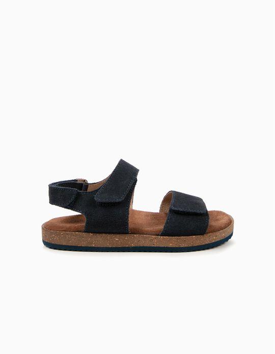 Sandalias de Ante para Niño, Azul Oscuro