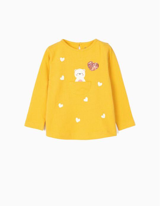 T-shirt Manga Comprida para Bebé Menina 'Cute Bear', Amarelo