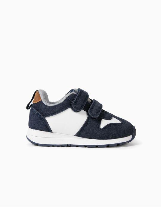 Sapatilhas para Bebé Menino com Duplo Velcro, Azul Escuro/Branco