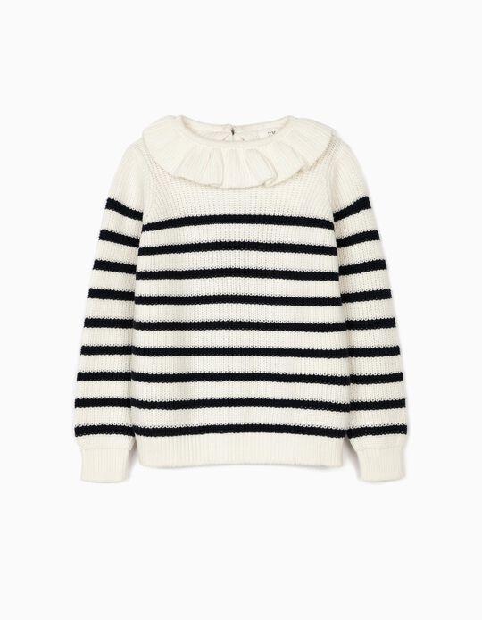 Striped Jumper for Girls, White/Blue