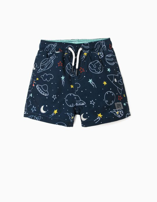 Swim Shorts with UV 80 Protection for Baby Boys, 'Planets', Blue