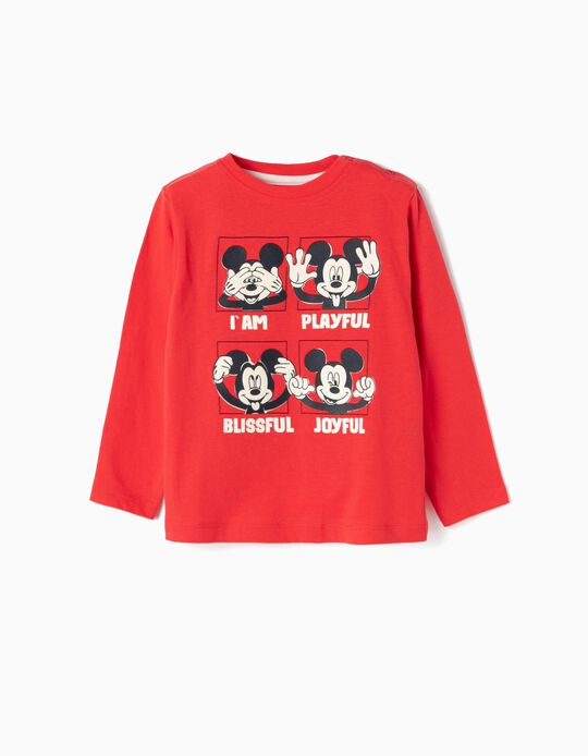 Camiseta de Manga Larga para Bebé Niño 'Mickey', Roja