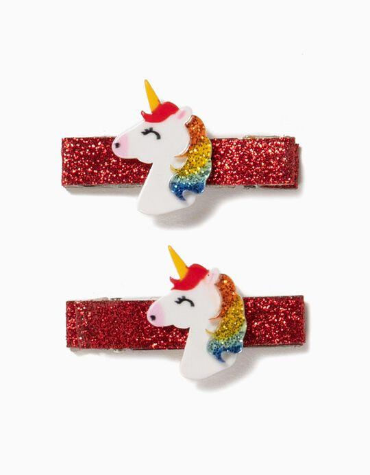 2 Pasadores del Pelo para Niña 'Unicorn', Rojo