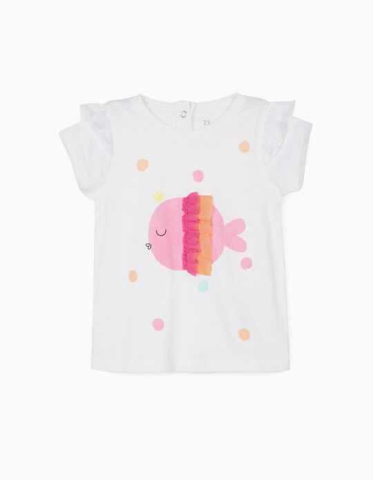 T-shirt bébé fille 'Fish', blanc