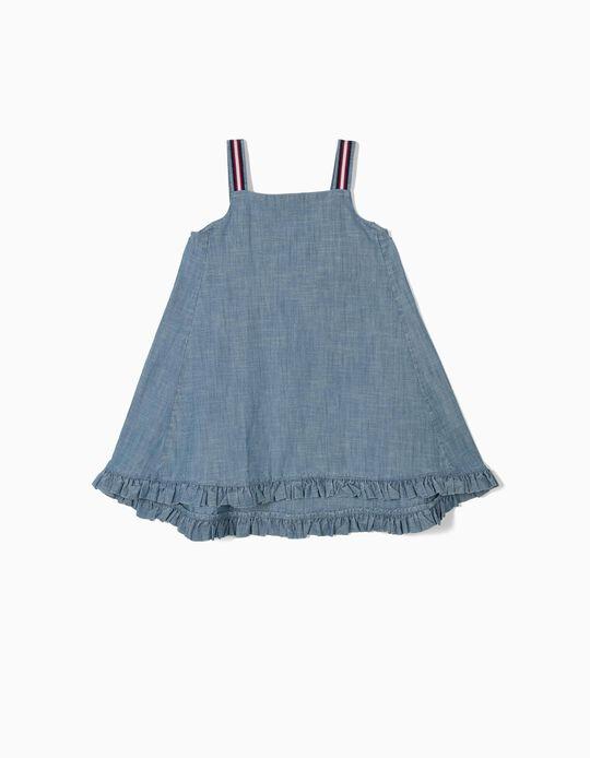 Vestido Cambraia para Menina, Azul