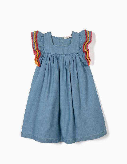 Vestido Denim para Menina com Pompons Coloridos, Azul