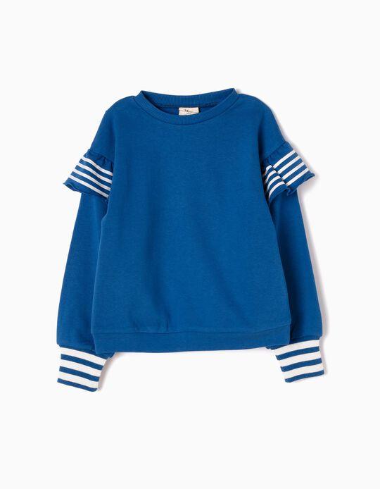 Sweatshirt com Folhos Azul
