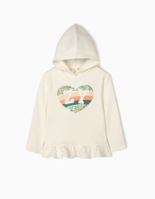 Sweatshirt com Capuz para Menina 'ZY', Branco