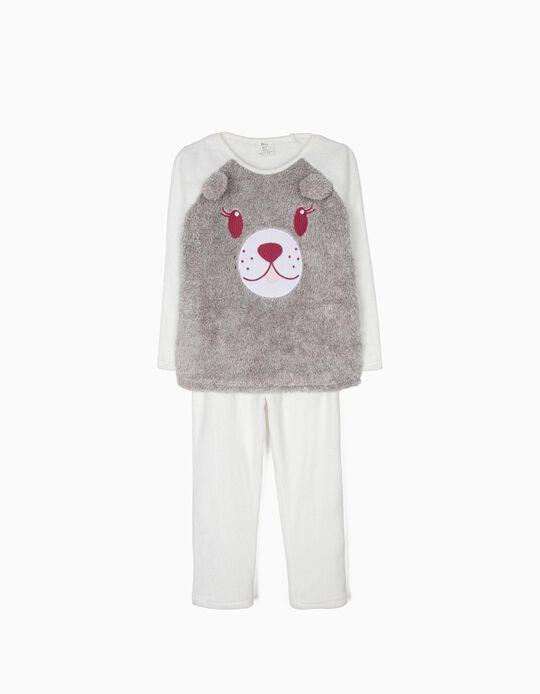Pijama Polar Osito Gris y Blanco