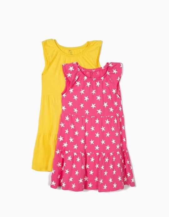 2 Vestidos de Punto para Niña, Rosa y Amarillo