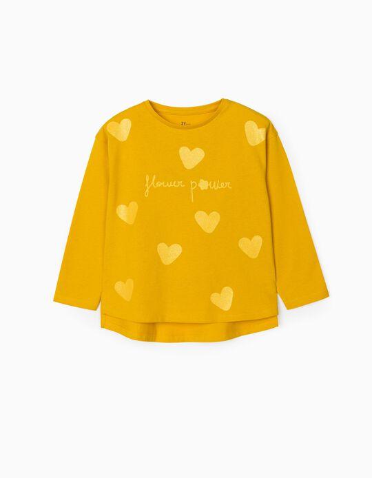 T-shirt Manga Comprida para Menina 'Flower Power', Amarelo