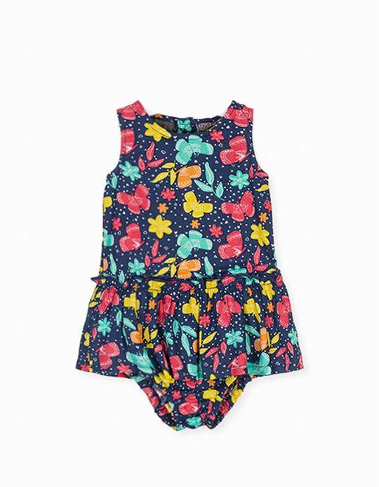 Vestido com Tapa-Fraldas para Bebé Menina LOSAN, Azul