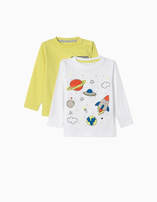 2 Camisetas Manga Larga para Bebé Niño 'Space', Blanca/Amarillo Lima