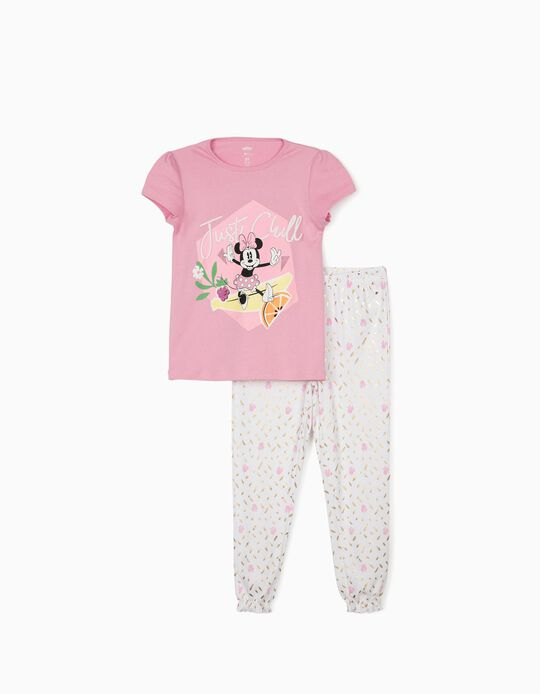 Pyjama fille 'Minnie Just Chill', rose/blanc