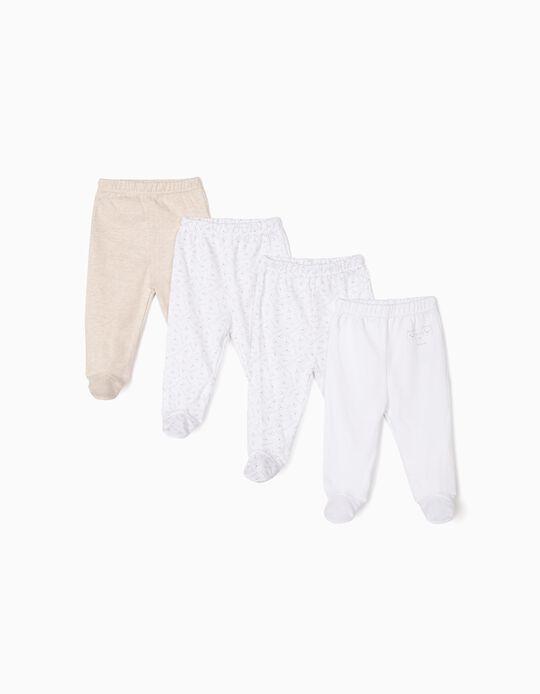 4-Pack Long-sleeve Bodysuits for Newborn 'Family Bear', Beige/White