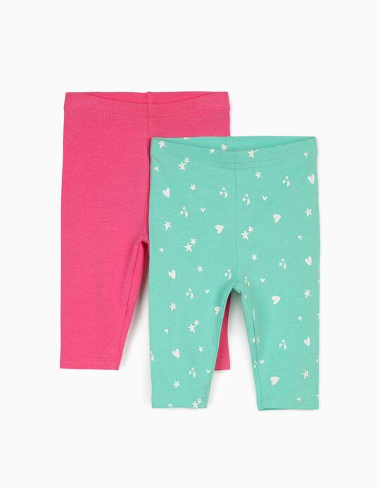 2 Leggings para Bebé Niña 'Hearts & Stars', Verde Agua/Rosa