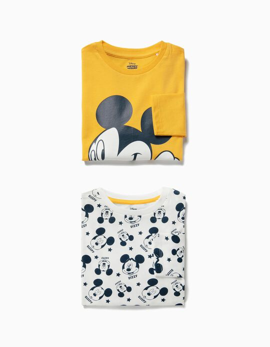 2 Camisetas de Manga Larga para Niño 'Mickey', Amarillo y Blanco