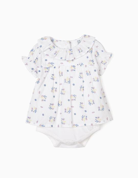 Floral Blouse Bodysuit for Newborn Baby Girls, White