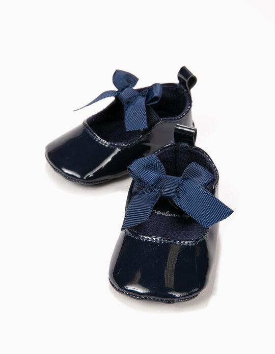 Sabrinas de Verniz para Recém-Nascida com Laço, Azul Escuro