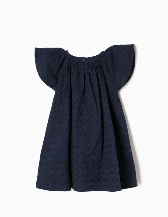 Vestido Bordado Inglês Azul