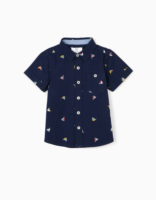 Shirt for Baby Boys, 'Boats', Dark Blue