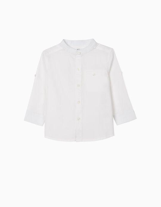 Camisa con Cuello Mao para Bebé Niño, Blanca
