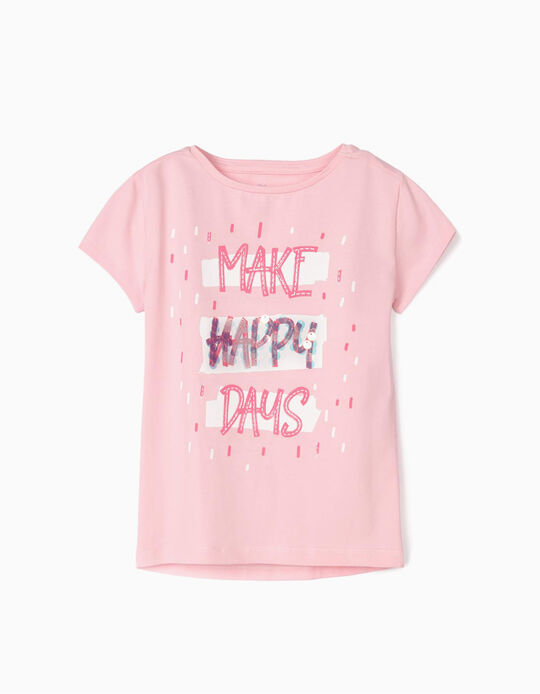 T-shirt for Girls 'Make Happy Days', Pink