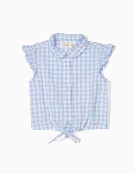 Blusa para Niña Ajedrez Vichy, Azul