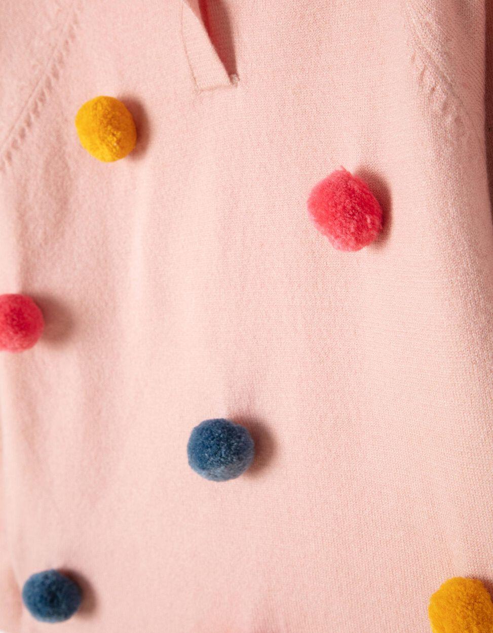 Jersey de Punto Rosa con Capucha de Pompones