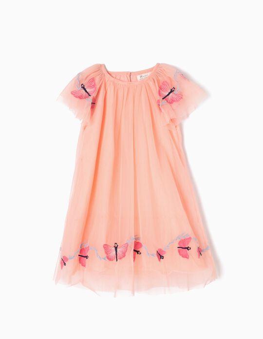 Vestido de Tul Mariposas Rosa