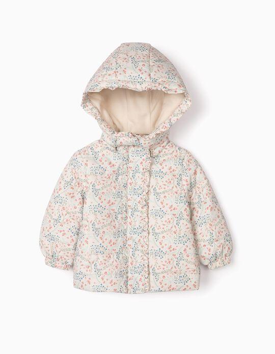 Blusão Acolchoado para Bebé Menina 'Flores', Cinza